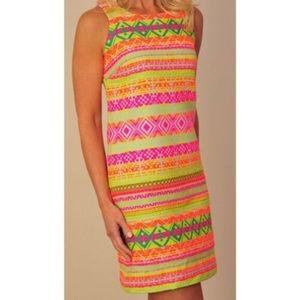 Britt Ryan S 6 Shift dress Neon Tribal aztec
